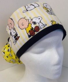 Snoopy Medical Ponytail Pouch Scrub Cap Surgical Surgery OR Hat #Handmade