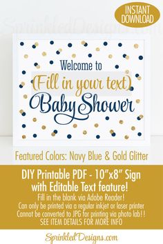 Baby Shower Welcome Sign Printable 10x8 by SprinkledDesign on Etsy