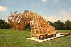 E B Seat Public Office Pavilion Woodworking Galore