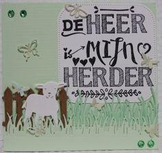 Gemaakt door Joke # tekst gestempeld met de Eline's handlettering stamps # De Heer is mijn Herder - met lammetje