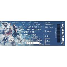 BTS The Wings Tour Souvenir Concert Ticket Tickets are personalized, printed on one side on card stock, and laminated. Resident Name: AventuraEvent Name: Aventura: InmortalDate: Location: Houston, TXEvent Venue: Toyota Center - TX Bts Concert Tickets, Exo Concert, Laminating Paper, Bang Bang, Bts Wings Tour, Kpop Diy, Ticket Design, Bts Love Yourself, Bts Chibi