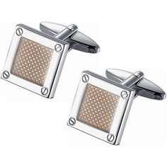 Visol Stainless Steel Polished Rhodium Square Amber Center and Screw Pin Cufflinks