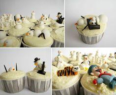 Calvin & Hobbes snowman murder cupcakes.
