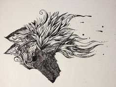 Wolf - Dipped ink pen, calligraphy pen, sketches.