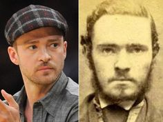 I think this is Justins relative from years ago Justin Timberlake and this seriously scary looking dude