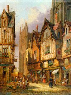 "Henry Thomas Schafer (British, 1854 - 1915) ""Lisieux, Normandy"""