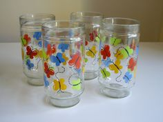 Vintage Drinking Glasses or Decorated Tumblers by Vintagerous