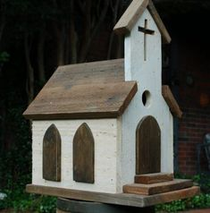 Rustic Old Country Church Birdhouse #birdhouses