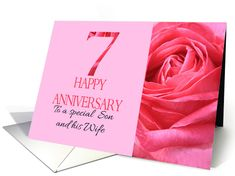 7th Anniversary to Son and Wife Pink Rose Close Up card Happy Anniversary Cards, 7th Anniversary, Family Relations, Extreme Close Up, Wedding Cards, Sons, Greeting Cards, Wedding Ecards, My Son