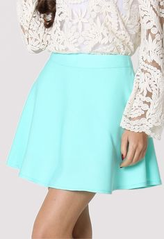 #chicwish Mint Skater Skirt I just love these skirts so much they are so cute and there are so many different kinds just live them.