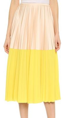 Love the yellow color blocking on this midi skirt
