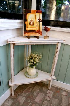 Wooden Corner Table Accent Decorative Home by honeystreasures, $300.00