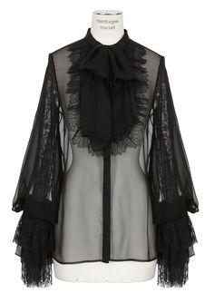 Saint Laurent Paris black silk georgette and lace shirt.