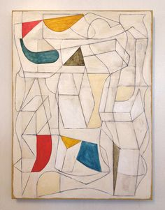 Abstract Art Original Painting Mid Century Modern Art Geometric Contemporary 18x24 Canvas Red Yellow Blue Brown White Cream