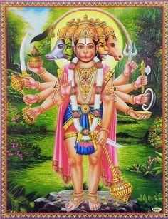 Panchamukha Hanuman is considered most auspicious form of Lord Hanuman to worship on Hanuman Jayanthi. He protects His devotees from all evil forces, negative thoughts and enemies. Hanuman Photos, Hanuman Images, Lakshmi Images, Lord Krishna Images, Hanuman Jayanthi, Hanuman Ji Wallpapers, Lord Shiva Family, Shiva Shakti, Durga Maa
