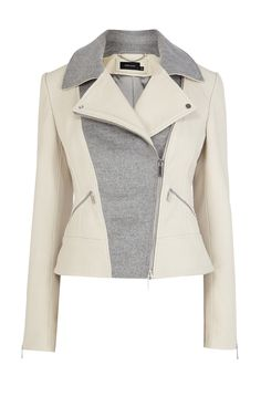 Pastel leather biker jacket Luxury Women's shop_all Karen Millen Crafted from supple Italian leather, we've re-imagined our bomber jacket in a stone hue. This versatile style features quilted shoulder panel detailing and silver-tone zipped cuffs. Look Fashion, Winter Fashion, Fashion Outfits, Lolita Fashion, Fashion Advice, Elisa Cavaletti, Jackets For Women, Clothes For Women, Karen Millen