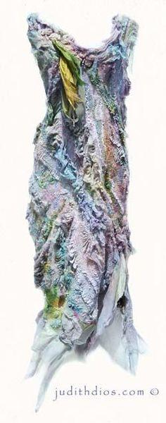 """Memory of Rose"" Hand-Painted nuno felted dress. Superfine merino, silk, banana by Judith Dios judithdios.com"