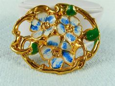 Art Nouveau Forget me Not Flower BROOCH Metal Enamel Vintage