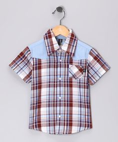 Take a look at this Blue Plaid Rockabilly Wild Button-Up - Infant, Toddler & Boys by Knuckleheads on #zulily today!