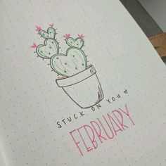 Bullet journal monthly cover page, February cover page, cactus drawing, Valentines Day bullet journal theme. | @lovestudiesz