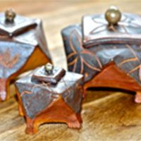 Set of wood-fired intention boxes
