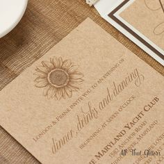 Rustic Sunflower Wedding Invitation with Laser Cut Band