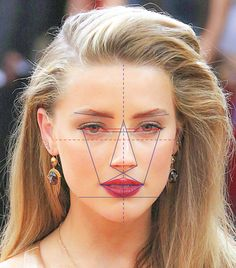 Amber Heard has the world's beautiful face, according to science Amber Heard's face was found to be per cent accurate to the Greek Golden Ratio of Beauty Phi - which for thousands of years was thought to hold the secret formula of perfection. Amber Heard, Face Proportions, Face Mapping, The Face, Most Beautiful Eyes, Face Shapes, Halloween Face Makeup, Hair Accessories, Drawings