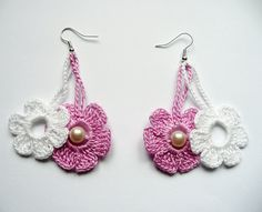 Cyclamen and White Crochet Earrings Crochet