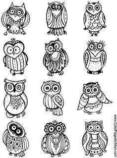 Whimsical Owls Coloring Page