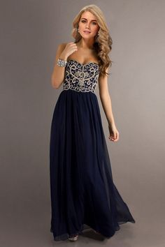 2014 Dark Navy Blue Prom Dresses Sweetheart Floor Length Chiffon With Silver Beading