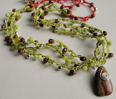 TANGY Beaded Crochet Red Creek Jasper Necklace