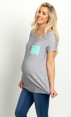 Casual chic style never looked better than in this striped short sleeve maternity top. You can wear this classic print every season, while a colorful pocket accent will give every outfit a splash of color. Style this maternity top with your favorite jeans and flats for a gorgeously feminine ensemble.