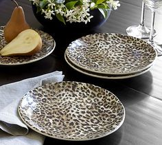 Leopard Plates at Pottery Barn Animal Print Decor, Animal Prints, Pottery Barn, Leopard Decor, Safari Home Decor, Appetizer Plates, Salad Plates, Cheetah Print, Leopard Prints
