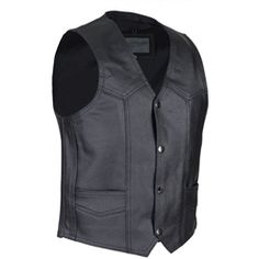 This premium black leather kids motorcycle vest is perfect for your little biker boy or girl. Two front pockets and a snap down front close.   Great biker style classic vest for kids to add your own patches or artwork too.