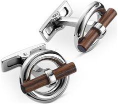Hermès Flibustier cufflinks in palladium Wooden detail: US$520.