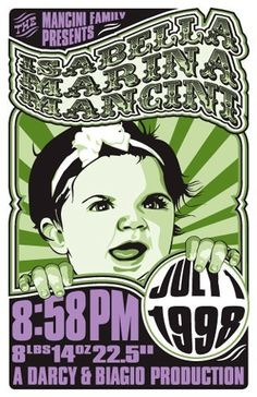 concert poster birth announcements from http://rattle-n-roll.com/html/shop2.html