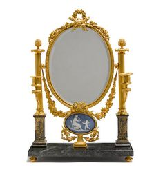 A Neoclassical style jasperware mounted gilt bronze and marble two light dressing table mirror 20th century