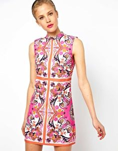 {ASOS Shift Dress In Penelope Scarf Print}