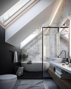 petite salle de bain moderne sous combles peinture noire papier peint marbre