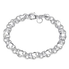 Free Shipping exo silver plated bracelets for women Full Heart bracelete jewelry HBH016