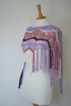 Hairpin Lace Shawl in purple, lavender and rose Crochet Hooded Scarf, Crochet Scarves, Crochet Shawl, Crochet Clothes, Crochet Stitches, Crochet Hooks, Knit Crochet, Crochet Patterns, Love Crochet