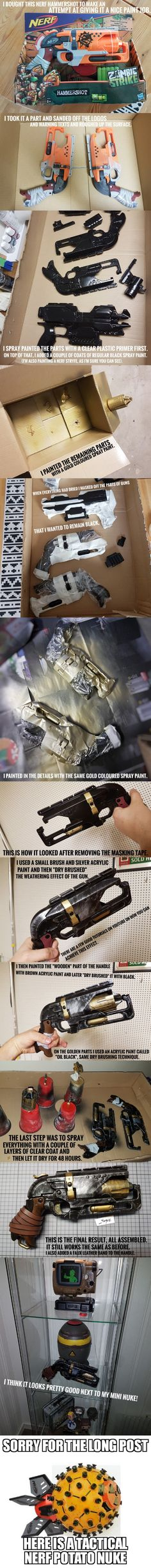 My first attempt at painting a Nerf gun. Cosplay Weapons, Cosplay Armor, Indoor Play Centre, Cool Nerf Guns, Best Of 9gag, Nerf Mod, Steampunk Weapons, Cardboard Crafts, Dieselpunk