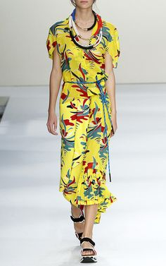 Voile St. Carioca Print Short Sleeve Dress by Marni Now Available on Moda Operandi
