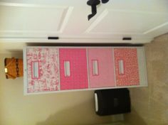 Refinish of a filing cabinet with new paint, fabric, and Modge Podge!