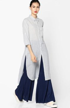 Melange By Lifestyle White & Gray Striped High-Low Shirt Style Kurta