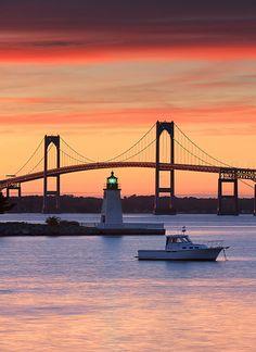 Sunset at Newport, Rhode Island - Goat Island Lighthouse & Newport Bridge