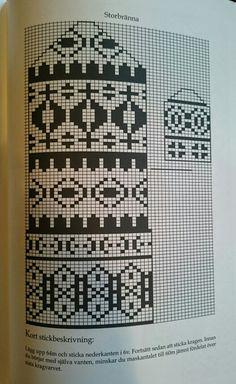 Storbrännan Tapestry Crochet Patterns, Fair Isle Knitting Patterns, Fair Isle Pattern, Knitting Charts, Knitted Mittens Pattern, Knit Mittens, Knitted Gloves, Scandinavian Pattern, Pixel Crochet