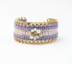 Purple+bracelet+with+chunky+chain+beaded+bracelet+by+LeiniJewelry,+€25.00