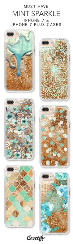 Must Have Mint Sparkle iPhone 7 Cases & iPhone 7 Plus Cases. More protective liquid glitter pattern iPhone case here > https://www.casetify.com/en_US/collections/iphone-7-glitter-cases#/?vc=HRFfyblunX