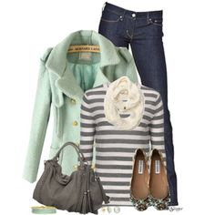 A Minty Gray Day by kginger on Polyvore featuring Levi's, Melie Bianco, Isharya, Roxy and Steve Madden